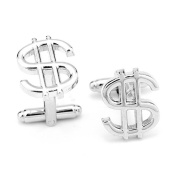 CMJ . Mens Silver Dollar Sign Cufflinks Gift Bag UK Seller