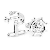 CMJ Anchor and Wheel Silver Cuff Links . Mens Cufflinks Sailor UK Seller