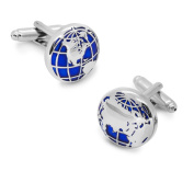 CMJ Stainless Steel Blue Silver World Map Globe Atlas Cufflinks Cuff Links UK Seller