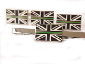 Thin Gree Line Ambulance Service Cufflinks Lapel Badge, Tie Clip Gift Set