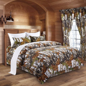 The Woods White Camouflage King 8pc Premium Luxury Comforter, Sheet, Pillowcases, and Bed Skirt Set by Regal Comfort Camo Bedding Set For Hunters Cabin or Rustic Lodge Teens Boys and Girls