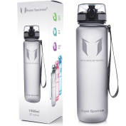 Super Sparrow Sports Water Bottle - 950ml - Eco Friendly & BPA-Free Plastic - Fast Water Flow, Flip Top, Opens With 1-Click - Reusable with Leak-proof Lid - For Running, Gym, Yoga, Outdoors and Camping