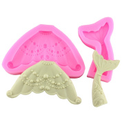 Mujiang Mermaid Tail Silicone Sugar Candy Clay Fondant Moulds Set of 2