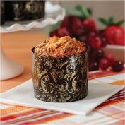 Mini Round Paper Panettone Muffins Mould High Baking Cups 5.1cm - 1.9cm x 0.7m Florentine Mols - Brown and Gold Design - 25 pcs