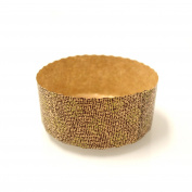 Round Low Paper Panettone Paper Baking Cups Moulds 8.9cm x 4.1cm - Brown and Gold Design - 25 pcs