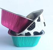 KEISEN square 7.6cm 100/PK 4oz Disposable Aluminium Foil Cups 100ml for Muffin Cupcake Baking Bake Utility Ramekin Cup 100/PK
