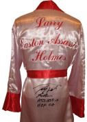 """Larry Holmes Signed Boxing Robe """"Easton Assassin HOF 20cm Inscription - Autographed Boxing Robes and Trunks"""