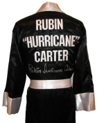 """Rubin """"Hurricane"""" Carter Signed Black Robe - Autographed Boxing Robes and Trunks"""