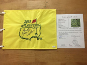 Arnold Palmer, Jack Nicklaus, Gary Player Big 3 Signed 2015 Masters Flag Loa - JSA Certified - Autographed Pin Flags