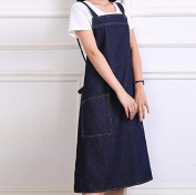 GL & G Female apron, anti-fouling anti-oil, strap, rope hanging neck type, two pockets, home apron,A,84cm*65cm