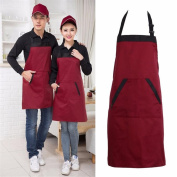 1 Piece Unisex Adjustable Bib Apron,Chef Aprons,Butchers Aprons,Cooking Aprons,Baking Aprons,Catering BBQ Apron with 2 Pocket Kitchen Aprons for Home Kitchen,Restaurant,Bistro,Coffee house