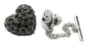 Crystal Gun Metal Heart Tie Pin