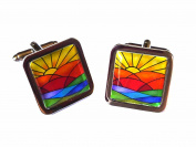 Art Deco Sunrise Chrome Cufflinks