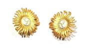 Gold Sun Earrings Vintage Antique Clip on Jewellery for Women Girls