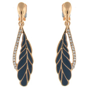 Clip On Earrings Store Blue Grey Enamel Feather and Crystal Drop Clip on Earring