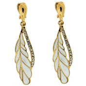 Clip On Earrings Store White Enamel Feather and Crystal Drop Clip on Earrings
