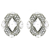 Clip On Earrings Store Deco Crystal Oval Stone Clip On Earrings