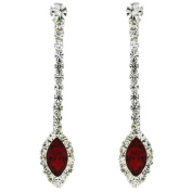 Clip On Earrings Store Siam Red and Diamante Crystal Navette Drop Clip On Earrings