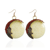 Round Shaped of Turquoise Stone Vintage Style Dangle Earrings Retro Earrings for Women Bobury