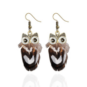 1 Pair Fashion Lady Hook Dangle Owl Feather Animal Pendant Gift Party Earrings Bobury