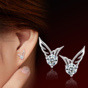 Female Ear Studs Angel Wing Ear Silver Pendants Fashion Wings Earrings White Diamond / Pair with Ear Plug (White Copper Plated Platinum