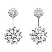 SELOVO Double Round Cubic Zirconia Front Back Ear Jacket Earrings Stud 925 Sterling Silver Pin