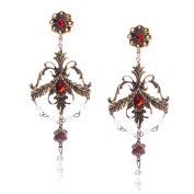 Europe And The United States Big Trend Of The Palace Retro Inlaid Rhinestones Cross Fashion Earrings