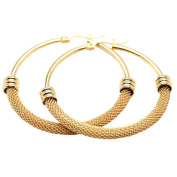 Baoli Women's Yellow Gold Titanium Steel Big Mesh Hoop Earring