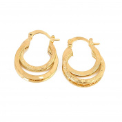24K Gold Plated Multilayer The Great Wall Pattern Filigree Oval Stud Hoop Earrings