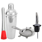 King International 100% Stainless Steel Bar Set | Bar Tools | Bar Accesories Of 4 Pieces Including Muddler | Cocktail Shaker | Bar Strainer | Bottle Stopper- Ideal for Gifting Party and Get Together