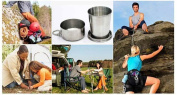 Folding Travel Cup - Metal Folding Cup - 1Pcs Stainless Steel Folding Cup Travel Tool Kit Survival EDC Gear Outdoor Sports Mug Portable for Camping Hiking Lighter