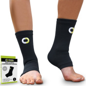 Ankle Compression Sleeves (1 Pair) - Instant Support Ankle Brace for Plantar Fasciitis, Achilles Tendon, Pain Relief, Injury Recovery - Soft Foot Socks with Arch Support for Men and Women