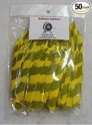 Bullseye Arrow Feathers 13cm RWSC Barred Yellow Pkg/50