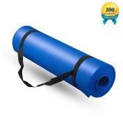 Yoga Mat, with Carrying Travel Bag and Strap-1cm (180cm x 60cm ) Thick NBR Eco-Friendly Multiple Use Exercise and Yoga Mat