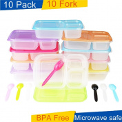 Meal Prep Containers 3 Compartment 10 Pack Food Prep Container with Lids Portion Control Reusable Freezer Food Storage Plastic Salad Bento Lunch Box For Kid Adult Microwave Dishwasher Safe by SCIONE