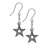 Alchemy Gothic Black Star Pewter Earrings