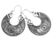 2LIVEFOR Gorgeous Earrings Ethnic Large Hoop Earrings Bohemian Vintage Antique Style Silver Earrings Long Pendant Ornaments Decorated