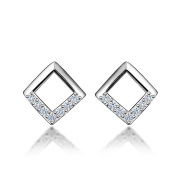 Missrui Classic Square Stud Earring 925 Sterling Silver For Women Girl Rose Gold Plated Birthday Gift