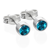 Nklaus Pair of Stud Earrings Silver 925 4.50 mm Turquoise Cubic Zirconia Children's 6544