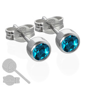 Nklaus Pair Stud Earrings 925 Silver Rhodium-Plated Cubic Zirconia 4.50 mm Turquoise Women's Men's 6572