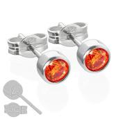 Nklaus Pair of Stud Earrings Silver 925 4.50 mm Orange Cubic Zirconia Children's 6663