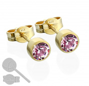 Children's Nklaus Pair Stud Earrings 333 Gold 4.50 mm Lavender Cubic Zirconia 6606