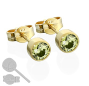 Children's Nklaus Pair Stud Earrings 333 Gold 4.50 mm Olive Cubic Zirconia 6713