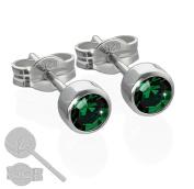 Nklaus Pair of Stud Earrings Rhodium-Plated 925 Silver 4.50 mm Dark Green Zirconia 6686