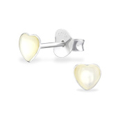 Childrens Girls Small White Shell Heart Stud Earrings - Real Sterling Silver - Boxed