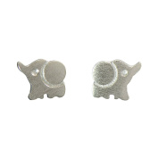 925 Sterling Silver Happy Baby Elephant Studs Earrings Tiny Size 0.6cm x 1cm