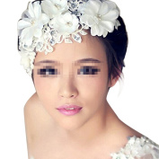 TININNA Wedding Bridal Floral Lace Pearl Headdress Headpiece Hairdress Headband Hairband