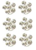 Six 6 Silver Swirl Hair Pins Bride Bridal Wedding Diamante Spring Coils Spirals Twists Jewellery Accessories Set - 1.5cm dia