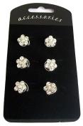 Six 6 Silver Flower Swirl Hair Pins Bride Boutique Bridal Wedding Diamante Spring Coils Spirals Twists Jewellery Accessories Set - 1.3cm dia