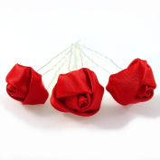 Rougecaramel - Hair Accessories - Flower Hair Pin for Weddings - Pack of 3 - Red